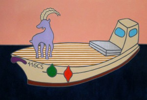 Goat on the Boat, 2015, acrylic on canvas, 190x140cm, available