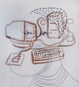 African woman with computer, 2002, ink and pencil on paper, 110x100cm, private collection