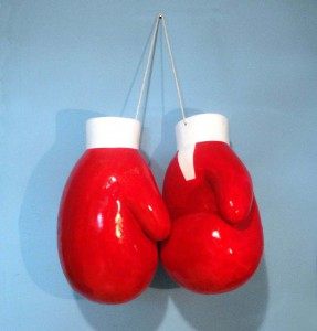 Boxing gloves on peg, 2011, colored polyester, h=70cm, available