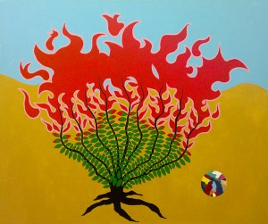 Burning bush and the Ball, 2012, acrylic on canvas, 160x180cm, available