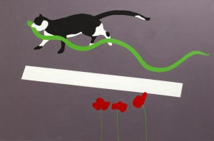 Cat and snake, 2011, acrylic on canvas, 120X80cm, available