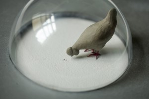 Chicken and three grains of moon dust, 2013, clay, metal and original mun dust, h=12cm, Natural hystory museum Zagreb