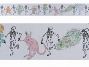 Danse macabre, 2009, print and colored pencil, 30x120cm, available
