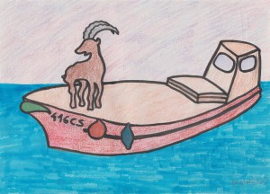 Goat on the boat, 2015, marker pen and colored pencil on paper, 30x21cm, available