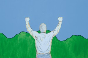 God is great, 2005, acrylic and chalck on canvas, 140x200cm, privat collection