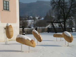 Goodness, 2012, wood and metal, h=280cm, public sculpture at Kostanjevica ob Krki