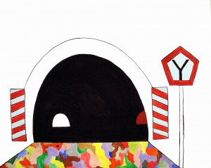 Last tunnel, 2011, acrylic and marker pen on paper, 100x130cm, available