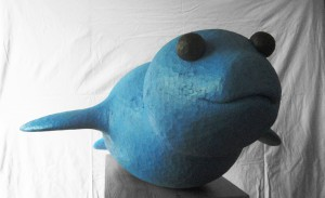 Mediterranean monk seal, 2012, colored wood, h=45cm, private collection