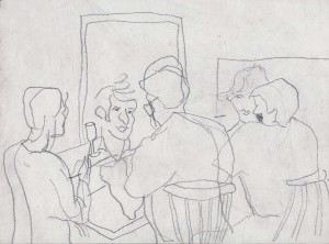 Meeting in studio, pencil on paper, 30x22cm, available
