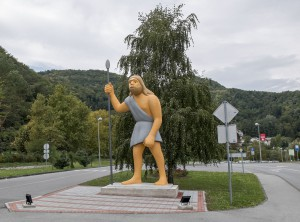 Neanderthal man, 2014, colored polyester and iron, h=700cm, public sculpture at Husnjak hill at Krapina