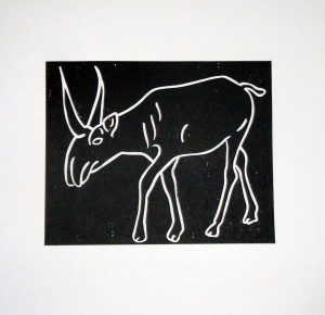 Saiga tatarica (Graphic map: Critically threatened species), 2007, linocut, 30x30cm, available