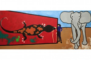 Salamander, 2001, acrylic on canvas, 120x300cm, private collection
