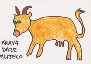 Cow gives milk, 1993, marker pen on paper, 21x30cm, available