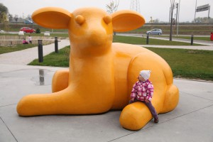 The Lamb, 2010, colored polyester, h=230cm, public sculpture at Arena Zagreb