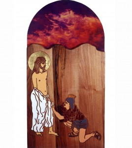 Via Crucis - Jesus is stripped of, 2000, painted wood and photo, h=120cm, St. Andrew church at Stari trg ob Kolpi
