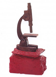 The Microcscope, 1998, wood and plaster, h=65cm, private collection